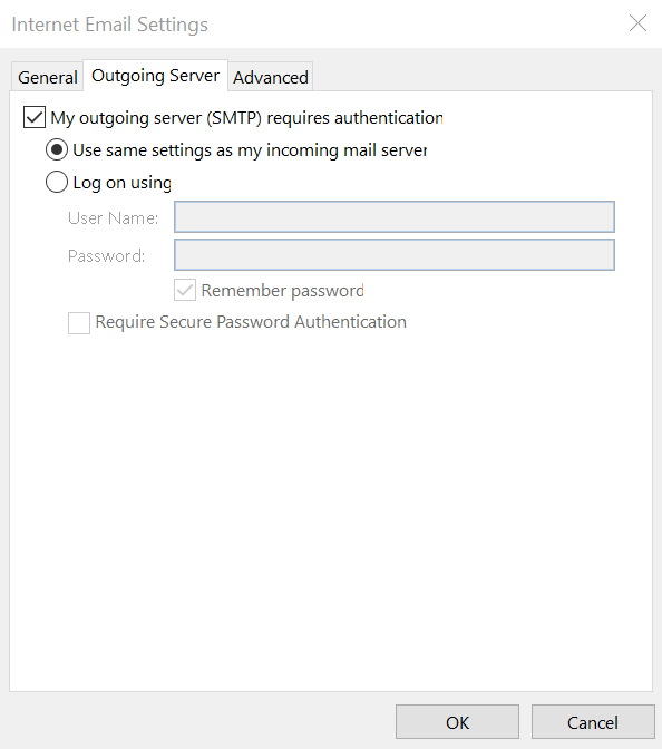 Outlook 365 outgoing server settings