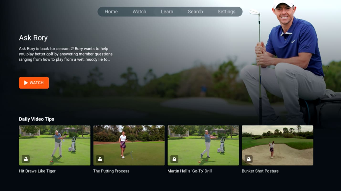 Image showing GolfPass' Ask Rory section on the app