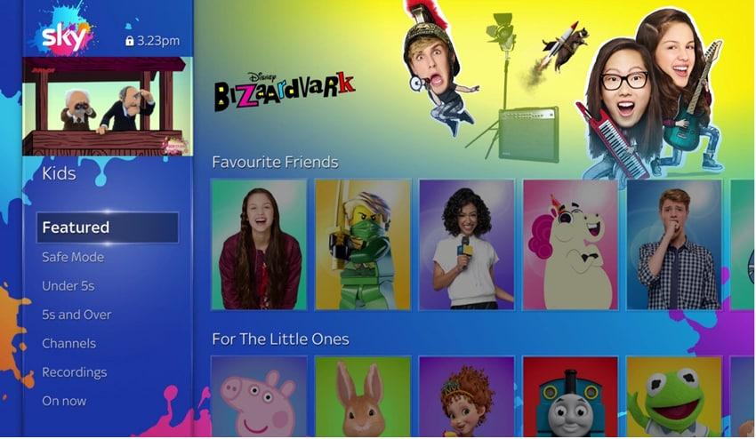 A screenshot of Sky Q in kids safe mode