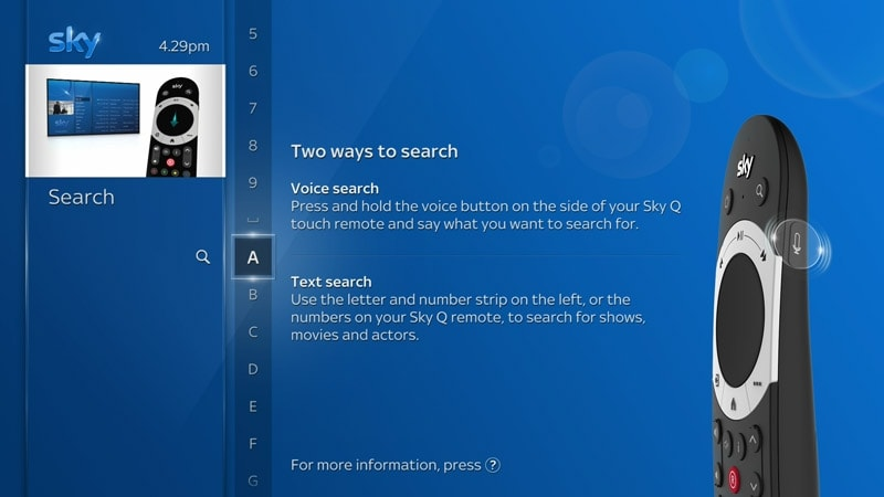 Using text search on your Sky Q box | Sky Help | Sky com