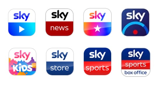 Sky Go app, Sky News app, My Sky app, Sky+ app, Sky Kids app, Sky Store app, Sky Sports app and the Sky Sports Box Office app