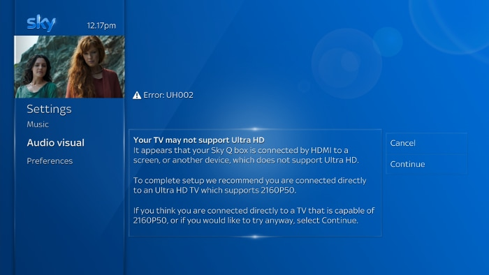 UH002 Your TV may not support Ultra HD error message