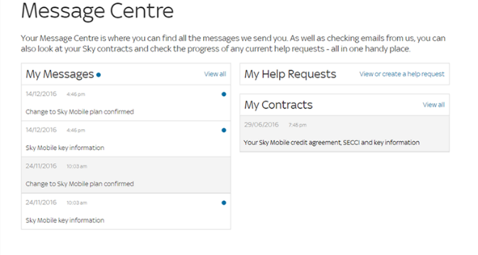 Credit agreement example in Message Centre