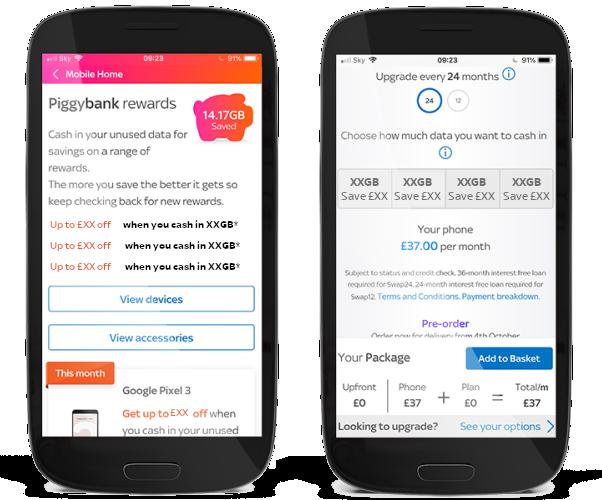 Piggybank Roll data and Piggybank rewards screens in My Account