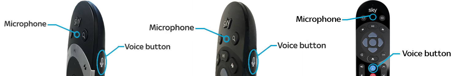 Image of Sky Q remotes with voice button and microphone callouts