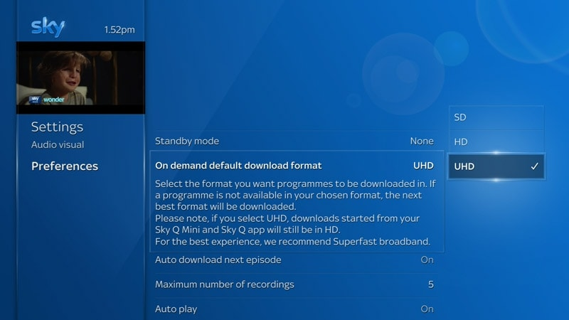 Screenshot of the Sky Q preferences page in settings