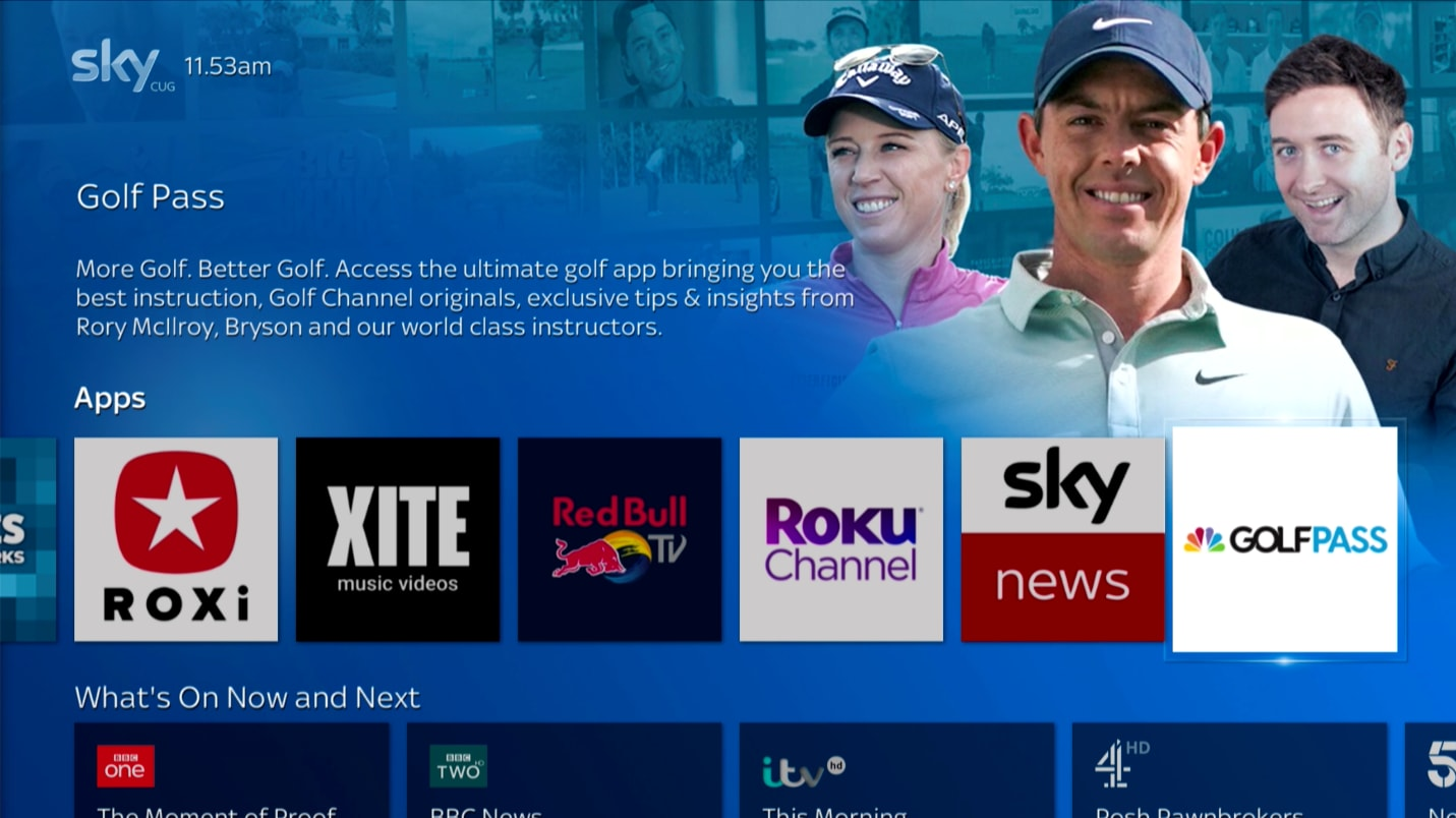 Sky Q homepage showing the GolfPass app