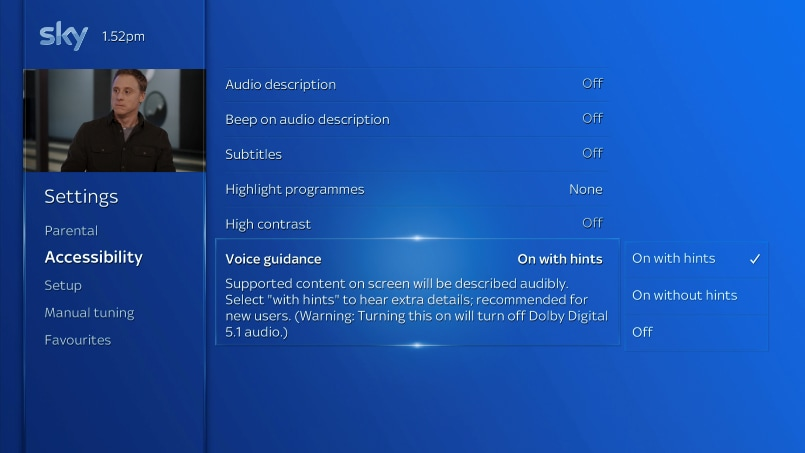 Image showing voice guidance selected in settings menu