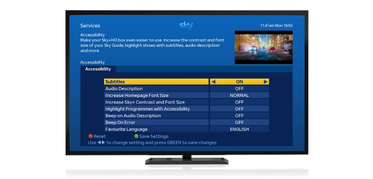 Set up Sky TV accessibility settings in your Sky Guide | Sky Help