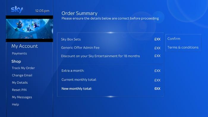 Sky Q order summary screen