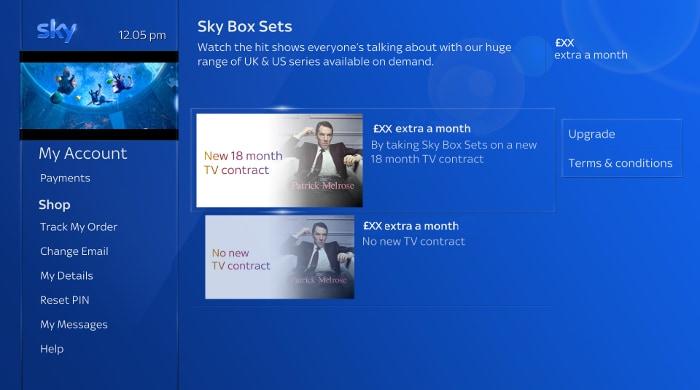 Upgrade to Box Sets via Sky Q interactive