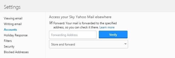 forwarding emails in Sky Yahoo Mail