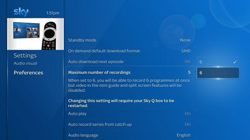 A screenshot of the Sky Q preferences screen where the maximum number of recordings has been changed from 5 to 6