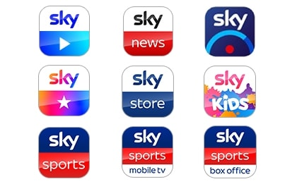 Sky Go app, Sky News app, Sky+ app, My Sky app, Sky Store app, Sky Kids app, Sky Sports app, Sky Sports Mobile TV app and the Sky Sports Box Office app
