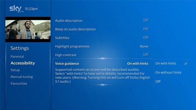 Sky Q voice Guidance